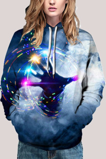 Blue Fashion Street Adult Print Split Joint Pullovers Hooded Collar Outerwear