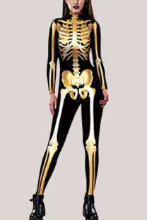 Gold Fashion Party Adult Polyester Print Split Joint O Neck Skinny Jumpsuits