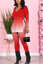 Red Fashion Casual Adult Polyester Gradual Change Slit U Neck Long Sleeve Regular Sleeve Regular Two Pieces