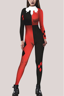Red and black Fashion Party Adult Polyester Print Split Joint O Neck Skinny Jumpsuits