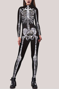 Black Fashion Party Adult Polyester Print Split Joint O Neck Skinny Jumpsuits