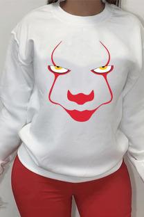 White Sportswear Cotton Print O Neck Outerwear