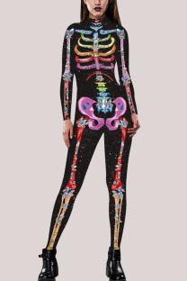 Multi-color Fashion Party Adult Polyester Print Split Joint O Neck Skinny Jumpsuits