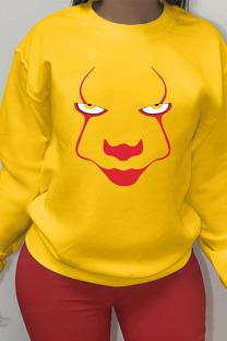 Yellow Sportswear Cotton Print O Neck Outerwear