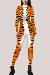 Yellow Fashion Party Adult Polyester Print Split Joint O Neck Skinny Jumpsuits