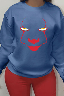 Blue Sportswear Cotton Print O Neck Outerwear