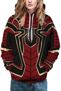 Red Fashion Street Adult Print Split Joint Pullovers Hooded Collar Outerwear
