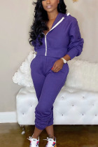 purple Casual Solid Split Joint Hooded Collar Long Sleeve Regular Sleeve Regular Two Pieces