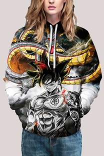 Black Fashion Street Adult Print Split Joint Draw String Pullovers Hooded Collar Outerwear