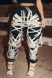 Grey Fashion Sweet Adult Patchwork Draw String Pants Loose Bottoms