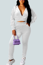 White Sexy Gradual Change Solid Split Joint Hooded Collar Long Sleeve Regular Sleeve Short Two Pieces