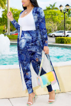 Blue Fashion Sexy Adult Print Split Joint Conventional Collar Long Sleeve Regular Sleeve Long Two Pieces