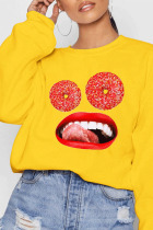 Yellow Casual Sportswear Cotton Print O Neck Outerwear