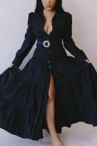 Black Celebrities Polyester Solid With Belt Shirt Collar Long Sleeve Floor Length Long Sleeve Dress Dresses