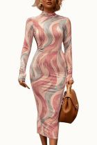 Pink Sexy Milk Fiber Print O Neck Long Sleeve Ankle Length Pencil Skirt Dresses