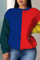Red and blue Casual Solid Split Joint O Neck Outerwear