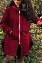Wine Red Fashion Sexy Adult Solid Split Joint O Neck Outerwear