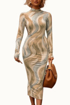 Green Sexy Milk Fiber Print O Neck Long Sleeve Ankle Length Pencil Skirt Dresses
