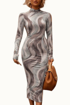 Grey Sexy Milk Fiber Print O Neck Long Sleeve Ankle Length Pencil Skirt Dresses