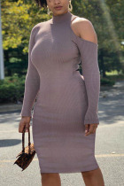 Dark Gray Fashion Sexy Adult Polyester Solid Pullovers Half A Turtleneck Long Sleeve Knee Length One-piece Suits Dresses