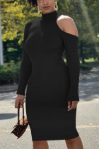 Black Fashion Sexy Adult Polyester Solid Pullovers Half A Turtleneck Long Sleeve Knee Length One-piece Suits Dresses