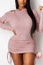 Pink Sexy Polyester Solid Split Joint Fold Hooded Collar Long Sleeve Mini Pencil Skirt Dresses