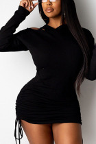 Black Sexy Polyester Solid Split Joint Fold Hooded Collar Long Sleeve Mini Pencil Skirt Dresses