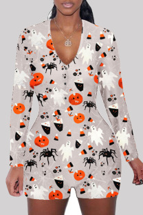 Grey Fashion Adult Living Polyester Print Split Joint V Neck Skinny Jumpsuits
