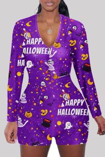 purple Fashion Adult Living Polyester Print Split Joint V Neck Skinny Jumpsuits