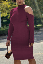 Wine Red Fashion Sexy Adult Polyester Solid Pullovers Half A Turtleneck Long Sleeve Knee Length One-piece Suits Dresses