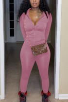 Pink Fashion Sexy Polyester Solid Zipper Collar Long Sleeve Regular Sleeve Regular Two Pieces