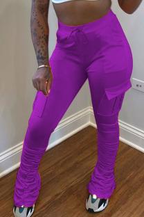 purple venetian Elastic Fly Mid Solid Pocket pencil Pants Bottoms
