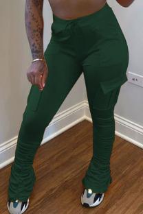 Dark green venetian Elastic Fly Mid Solid Pocket pencil Pants Bottoms
