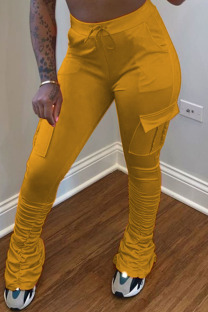 Yellow venetian Elastic Fly Mid Solid Pocket pencil Pants Bottoms