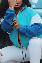 Baby Blue Fashion Street Adult Wool Solid Split Joint Mandarin Collar Outerwear