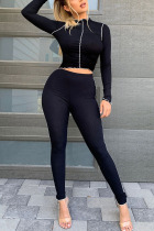 Black Fashion Sportswear Adult Polyester Solid Split Joint O Neck Long Sleeve Regular Sleeve Short Two Pieces