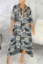 Green Sexy Polyester Camouflage Print Split Joint Turndown Collar Outerwear