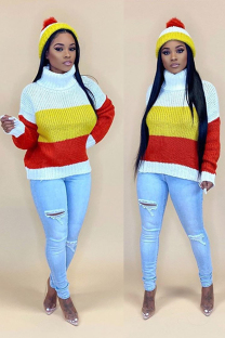 Red knitting Turtleneck Long Sleeve Patchwork Striped Solid
