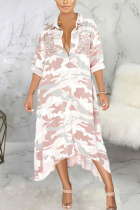 White Sexy Polyester Camouflage Print Split Joint Turndown Collar Outerwear