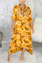 Yellow Sexy Polyester Camouflage Print Split Joint Turndown Collar Outerwear