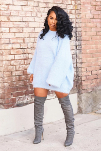 Blue O Neck Long Sleeve Solid