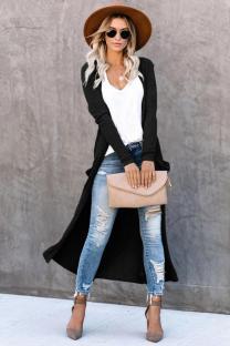 Black knitting cardigan Long Sleeve Solid Patchwork Slim fit
