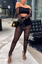 Black Fashion Casual Adult Polyester Solid See-through Backless Strapless Long Sleeve Off The Shoulder Short Two Pieces