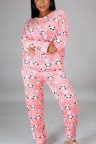 Pink Sportswear Print O Neck Long Sleeve Regular Sleeve Regular Two Pieces
