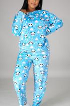 Blue Sportswear Print O Neck Long Sleeve Regular Sleeve Regular Two Pieces