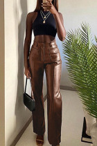 Brown Street Faux Leather Solid Straight Bottoms