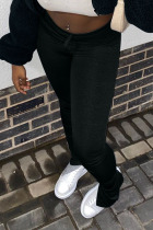 Black Casual Polyester Solid Fold Boot Cut Bottoms