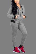 Light Gray Sexy Solid Zipper Collar Long Sleeve Regular Sleeve Regular Two Pieces