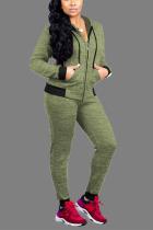 Grass Green Sexy Solid Zipper Collar Long Sleeve Regular Sleeve Regular Two Pieces