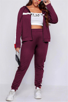 Wine Red Casual Sportswear Patchwork Split Joint Hooded Collar Plus Size Set